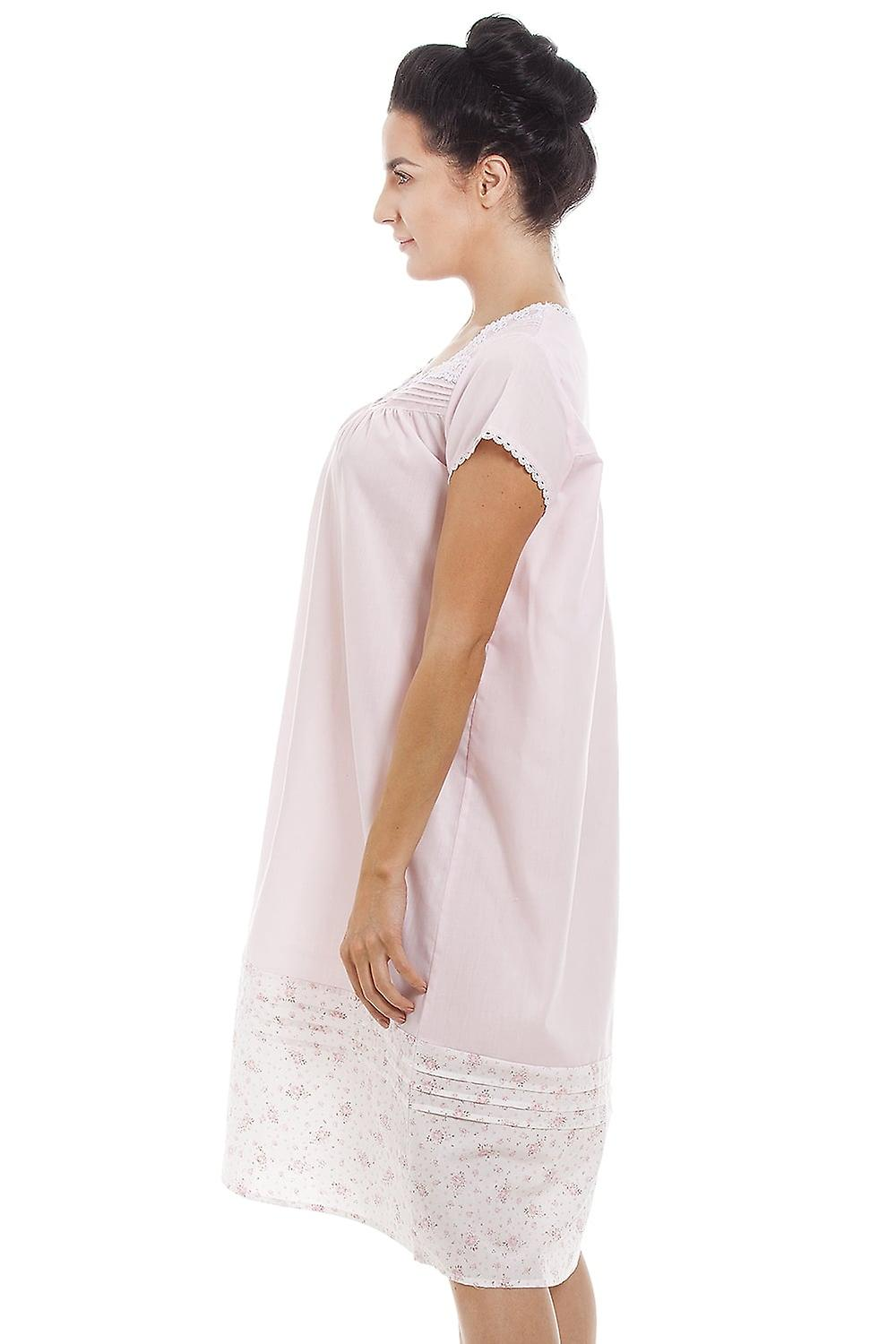Camille Light Pink Short Sleeve Floral Nightdress