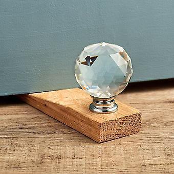 Clear Faceted Crystal Oak Wedge Door Stop