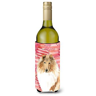 Love a Rough Collie Wine Bottle Beverage Insulator Hugger