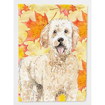 Carolines Treasures  CK1842CHF Fall Leaves Goldendoodle Flag Canvas House Size
