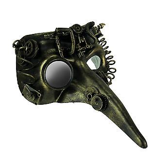 Steamzanni Metallic Gold Long Nose Steampunk Adult Costume Mask