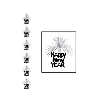 Feliz año nuevo fuegos artificiales decoración de larguero - colgante negro y plata