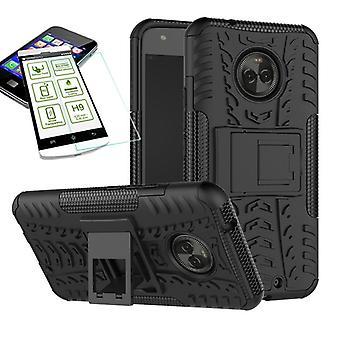 Für Motorola Moto X4 Hybrid Case 2teilig Schwarz + Hartglas Tasche Hülle Cover Hülle