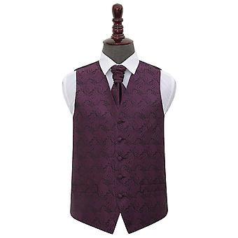 Paisley viola sposa gilet & Cravat Set