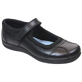 Term Girls Victoria School Shoes Black Leather
