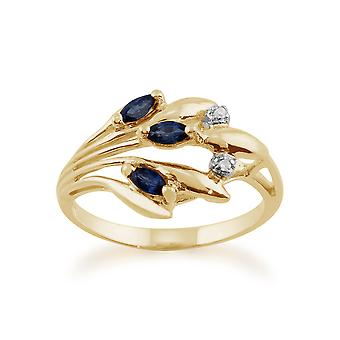 9ct Yellow Gold 0.22ct Natural Sapphire & Diamond Floral Style Ring