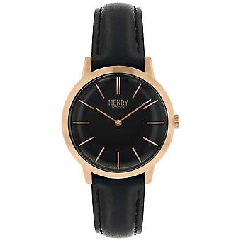 Henry London Iconic Black Dial Black Leather Strap HL34-S-0218 Watch