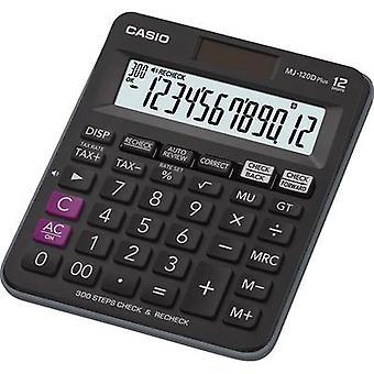 Bureaucalculator Casio MJ-120DPLUS zwarte vertoning (cijfers): 12 zonne-aangedreven, batterij-aangedreven (W x H x D) 126,5 x 28,6 x 148 mm