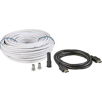 BKL Electronic SAT Cable [1x F plug, HDMI plug - 1x F plug, HDMI plug] 25 m 90 dB Black, White