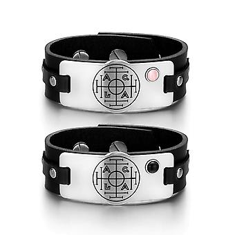 Fortune Wealth Success Love Couples Pink Simulated Cats Eye Simulated Onyx Black Leather Bracelets
