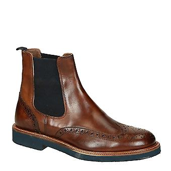 Brown lux leather mens wingtip brogues chelsea boots