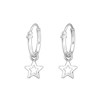 Star - 925 Sterling Silver orecchio Hoops - W31267X