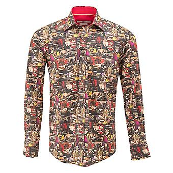 Claudio Lugli Vintage Car Headlights Print Mens Shirt