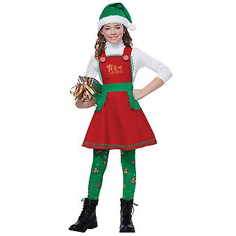 Elf In Charge Santa Helper Christmas Holiday Festival Dress Up Girls Costume