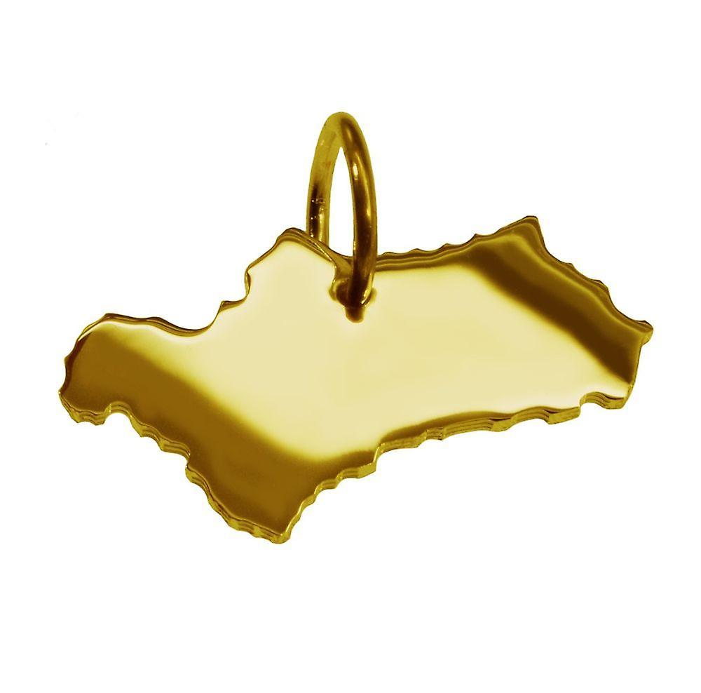 Remorque carte pendentifs en or jaune-or sous la forme de l'Andalousie