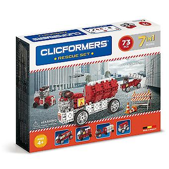 Clicformers Fire Rescue Set 7 in 1 Vehicles 73 PCS Building and Construction Toy