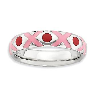 4.5mm Sterling Silver rosa emalj rodium-plated stapelbar uttryck polerad rosa röd emaljerad Ring - Ring storlek: 5 till