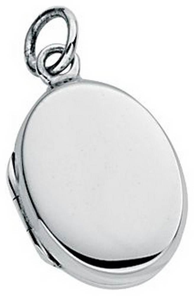 Beginnings Small Plain Oval Locket Pendant - Silver