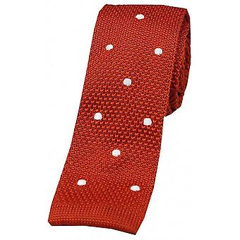 David Van Hagen Polka Dot dünn gestrickt Tie - Burnt Orange/weiß