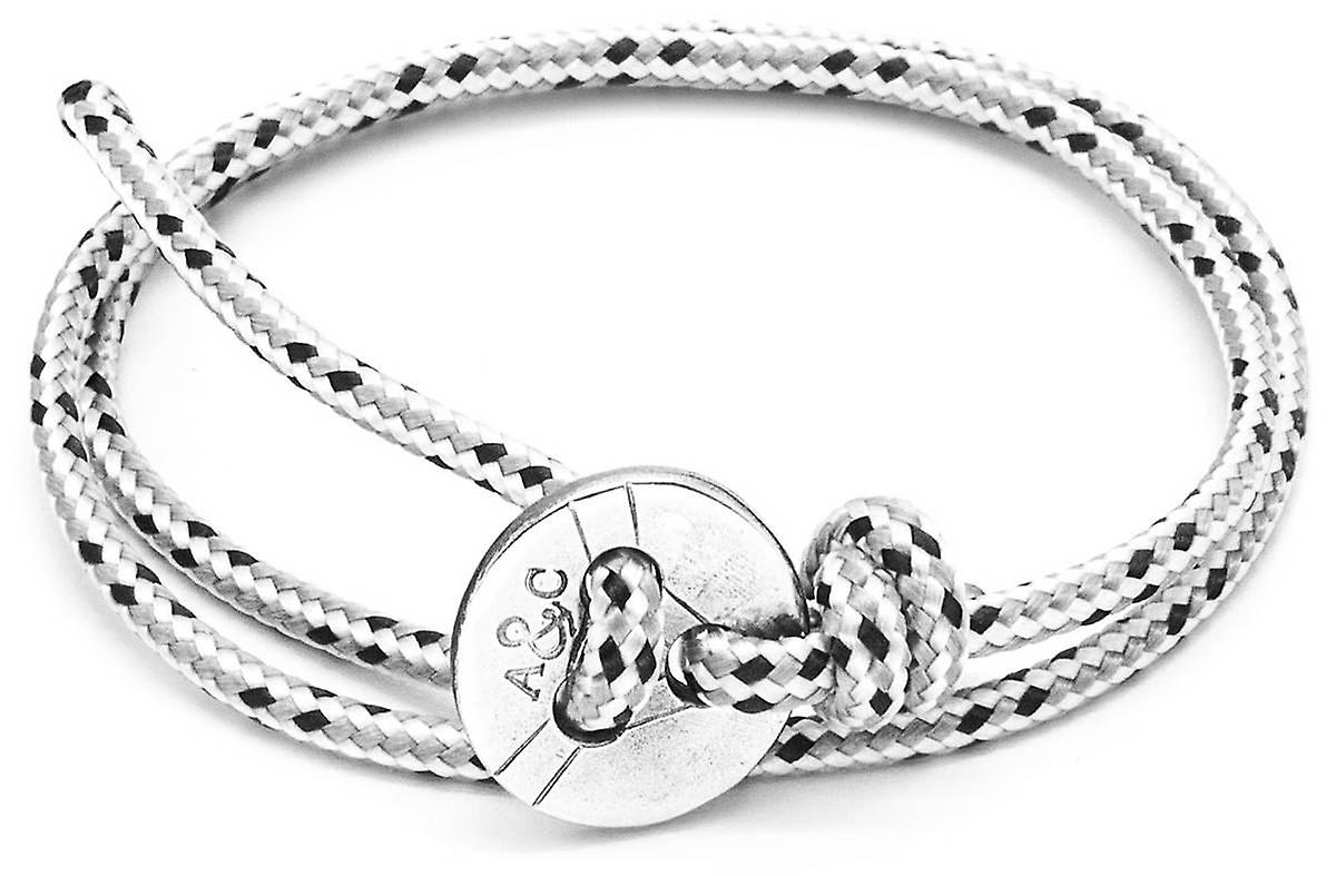 Anchor and Crew Lerwick Silver and Rope Bracelet - Grey Dash