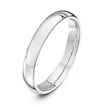 Anneaux de mariage Star 9ct or blanc lourds Cour forme 3mm bague de mariage