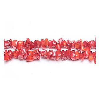 Long Strand 240+ Red Coral 5-8mm Chip Beads GS3116