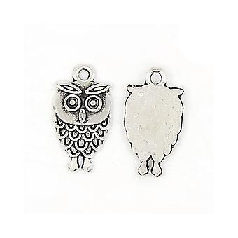 Pakke 15 x antik sølv tibetanske 18mm ugle charme/vedhæng Y08350