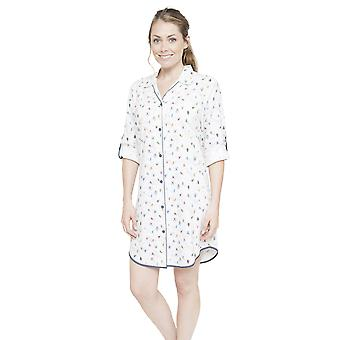 Cyberjammies 4086 Women's Aspen White Skiing Print Sleep Shirt Nighty Nightshirt