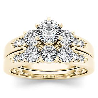 IGI Certified 14k Yellow Gold 1.42 Ct Natural Diamond Halo Engagement Ring Set
