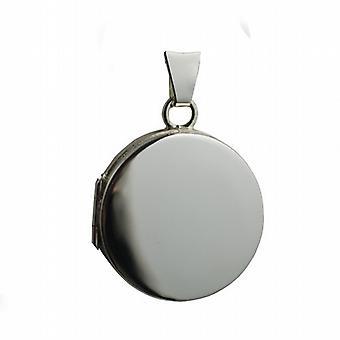 9ct vitguld 20mm vanligt platt rund medaljong