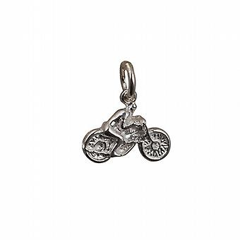Silver 12x16mm Motorbike and Rider Pendant or Charm