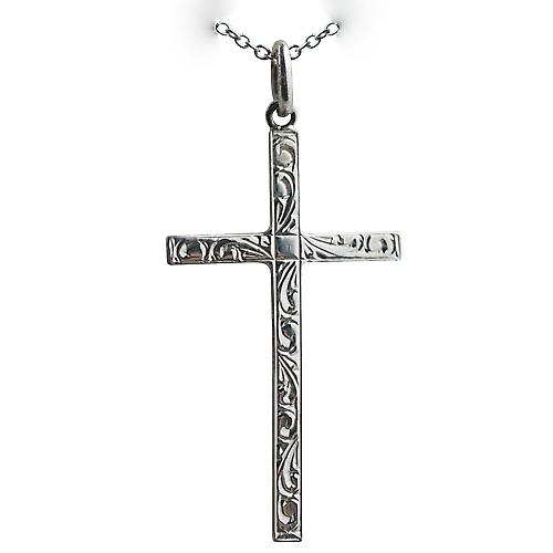 Silver 35x20mm hand engraved solid block Cross with a rolo chain