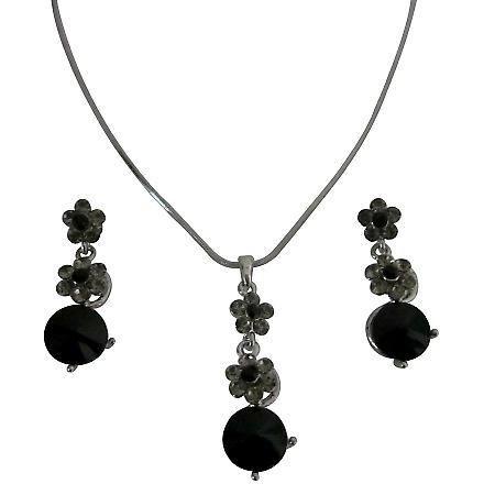 Formal Wear Jewelry Set Bridal Necklace Set Jet Black Crystals Flower Necklce Set Jet Black Crystal surgical Post Dangling Wedding Jewelry