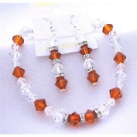 Burnt Orange Crystal & Clear Crystal Bracelet Earrings Genuine Swarovski Crystal w/ Silver Rondells