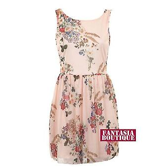 New Ladies Sleeveless Chiffon Floral Print Women's Skirt Dress