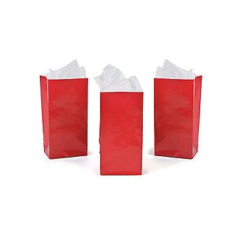 12 Mini Red Paper Gift Bags or Party Favour Bags | Kids Party Loot Bags