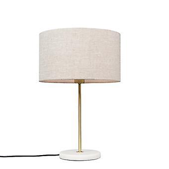 Tabla QAZQA Kaso lámpara latón con pimienta cilindro sombra