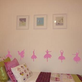 Ballerina Silhouettes Set of 6 Wall Stickers