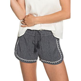 Roxy Womens Friends Stories Striped Fashion Beach Shorts - Indigo/White