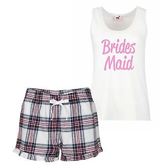 Brides Maid Pink Tartan Pyjamas