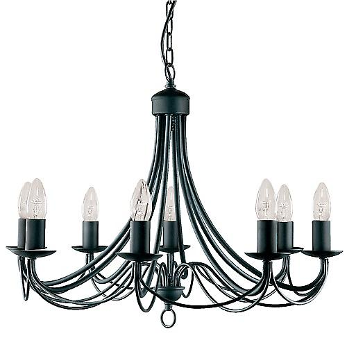 Searchlight 6348-8BK Nova 8 Arm Matt Black Finished Chandelier Wrought Iron