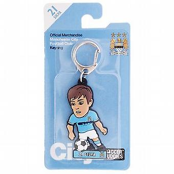 Manchester City Official Licensed Soccer Buddies Football Keyring - David Silva