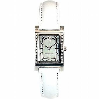 Genuine Diamond Ladies Black Diamond  White Leather Strap Dress Watch GOTW105