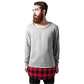 Urban Classics Men's Sweatshirt Long Flannel Bottom Open Edge Crewneck