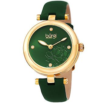 Burgi Women's Diamond Accented Flower Dial Watch - Comfortable Leather Strap BUR197GN
