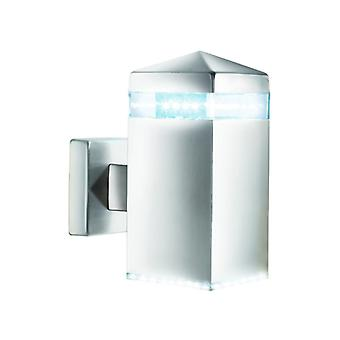 India Led Outdoor Wall Light - Satin Silver  Square 32 Leds