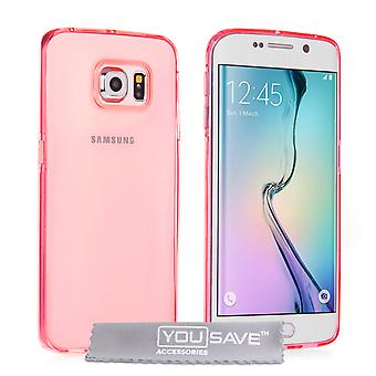 Yousave Accessories Samsung Galaxy S6 Edge UltraThin Gel Pink Case