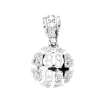 925 iced out silver pendant - MINI BASKETBALL