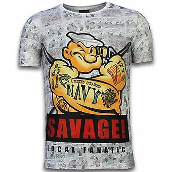 T-shirt Popeye Savage-Digital Rhinestone-Blanc