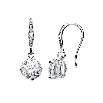 Jewelco London Rhodium Plated Sterling Silver Round Brilliant Cubic Zirconia Solitaire Drop Earrings